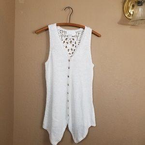 Soft Surroundings || white knit full bottom tank